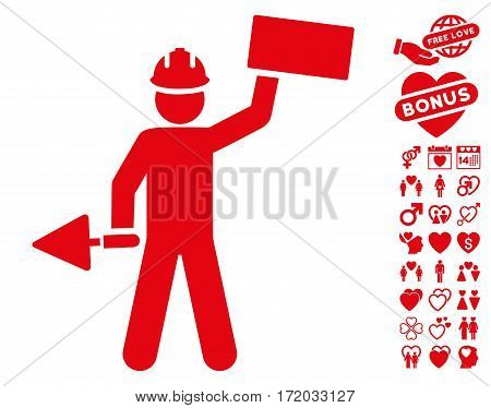 Builder With Brick pictograph with bonus passion pictograms. Vector illustration style is flat iconic red symbols on white background.