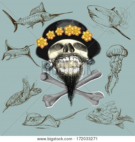 Bearded pirate skull and underwater life - an hand drawn vector. Freehand sketching.