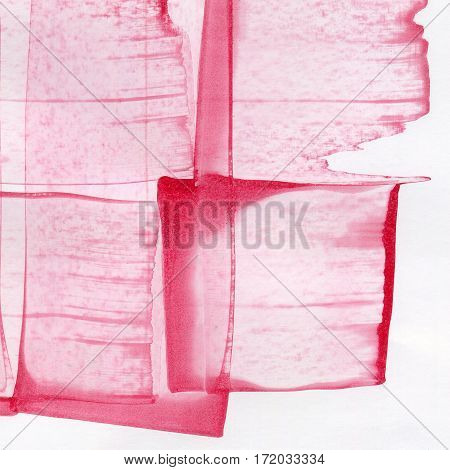 Pink watercolor hand drawn wet paint on white background for text design tag. Aquarelle bright color on paper texture illustration element for wallpaper backdrop