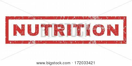 Nutrition text rubber seal stamp watermark. Caption inside rectangular banner with grunge design and dirty texture. Horizontal vector red ink emblem on a white background.