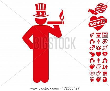Capitalist pictograph with bonus lovely pictures. Vector illustration style is flat iconic red symbols on white background.