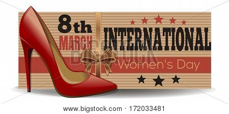 Women's shoes on the background of a banner dedicated to the International Women's Day. 8th March. Vector illustration
