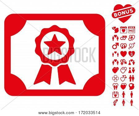 Certificate icon with bonus amour graphic icons. Vector illustration style is flat iconic red symbols on white background.