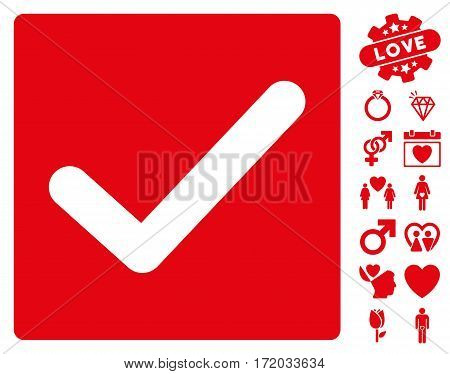 Check pictograph with bonus valentine design elements. Vector illustration style is flat iconic red symbols on white background.
