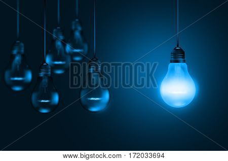 Set of hanging realistic bulbs on dark background in a blue shade - 3D render illustration