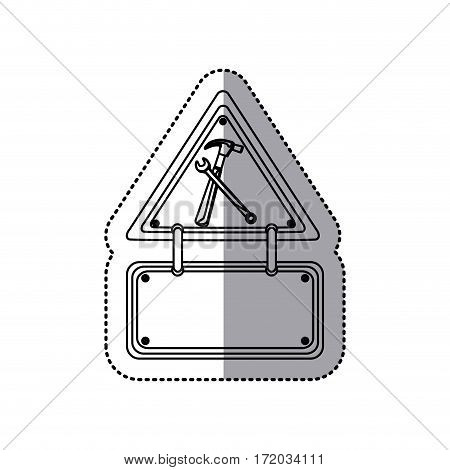 sticker contour traffic sign with hammer and key vector illustration
