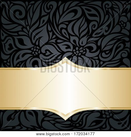 Decorative black & gold floral luxury background design