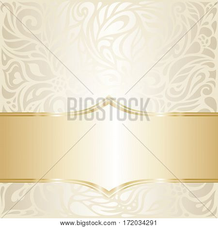 Floral wedding invitation design in ecru & gold, with blank space