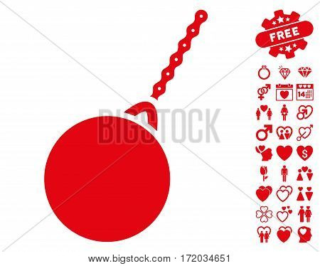 Destruction Hammer pictograph with bonus decoration graphic icons. Vector illustration style is flat iconic red symbols on white background.