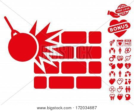 Destruction pictograph with bonus valentine symbols. Vector illustration style is flat iconic red symbols on white background.