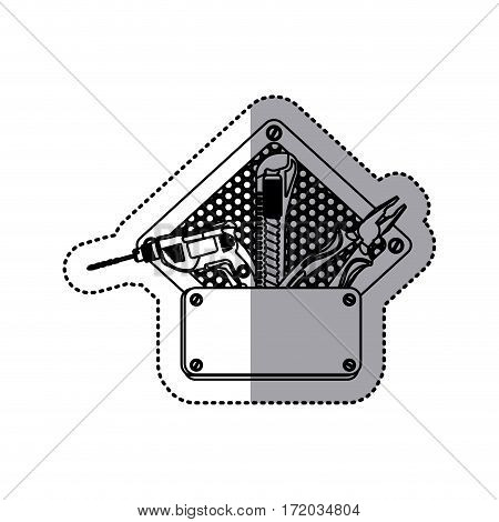sticker silhouette diamond grille perforated frame with metal plate and tools vector illustration