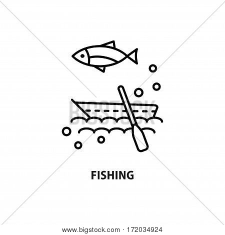 Vector logo for fishing tourism isolated on white. Design concept for eco travel and fishing equipment shop in line style