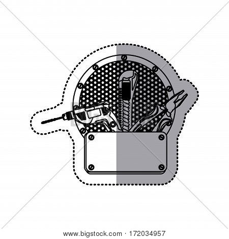 sticker silhouette grille perforated circular frame with metal plate and tools vector illustration