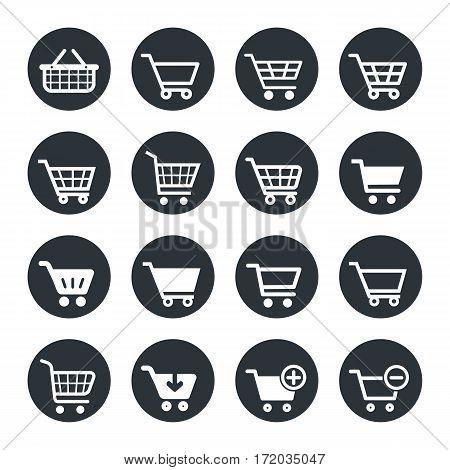 shopping carts icon set, vector trolley button for website