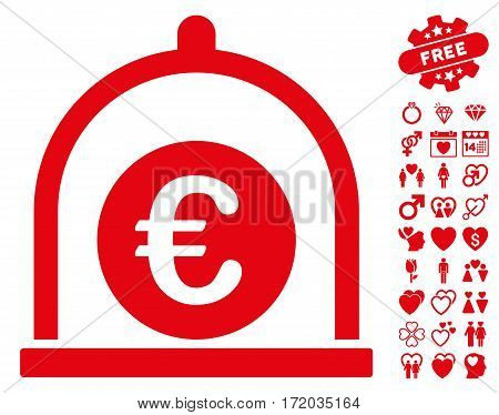 Euro Standard pictograph with bonus love clip art. Vector illustration style is flat iconic red symbols on white background.