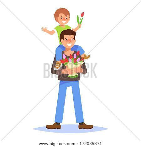 Flat vector illustration of a smiling young man holding a bouquet of spring flowers. Element for greeting card March 8 International Women's Day with father and small boy is sitting on his shoulders