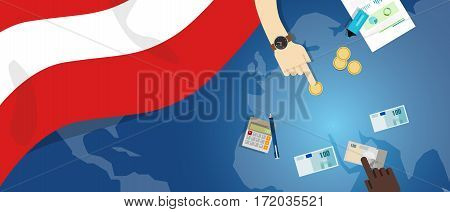 Austria economy fiscal money trade concept illustration of financial banking budget with flag map and currency vector