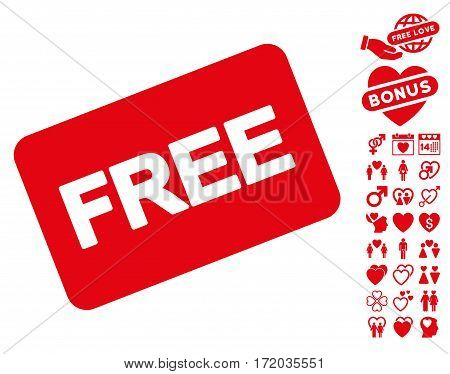 Free Card pictograph with bonus decoration images. Vector illustration style is flat iconic red symbols on white background.