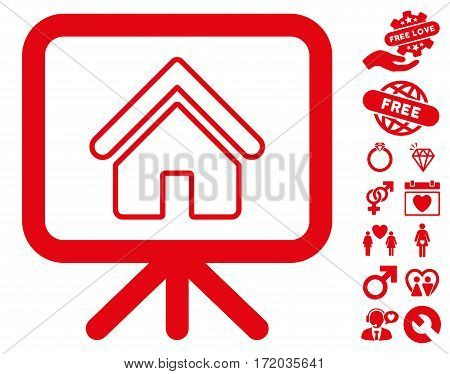 Free Gift Offer pictograph with bonus dating pictograph collection. Vector illustration style is flat iconic red symbols on white background.