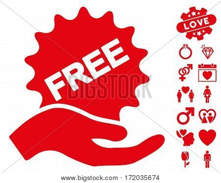 Free Present pictograph with bonus romantic images. Vector illustration style is flat iconic red symbols on white background.