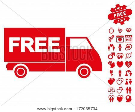 Free Shipment icon with bonus love pictograph collection. Vector illustration style is flat iconic red symbols on white background.