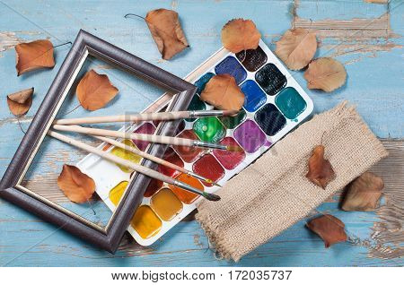 Paint Brushes , Paint And Frame Autumn