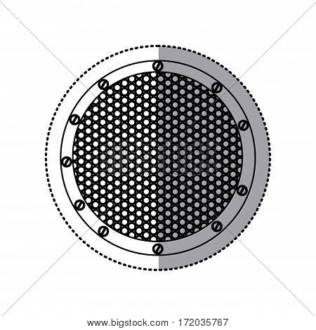sticker silhouette circular metallic frame with grill perforated vector illustration