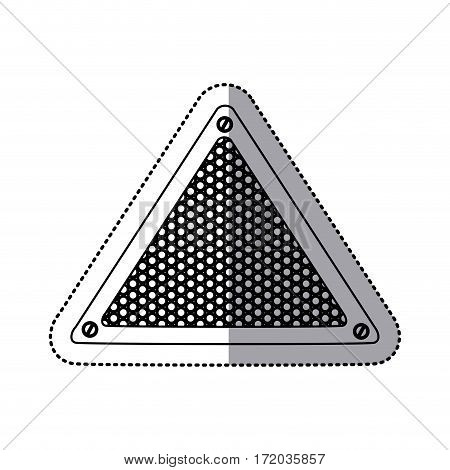 sticker silhouette triangular metallic frame with grill perforated vector illustration