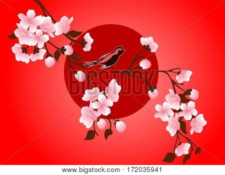 japanese cherry blossom art picture. Vector sakura flower