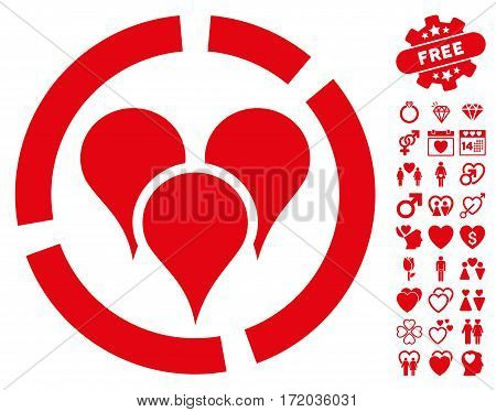 Geo Targeting Diagram pictograph with bonus amour symbols. Vector illustration style is flat iconic red symbols on white background.