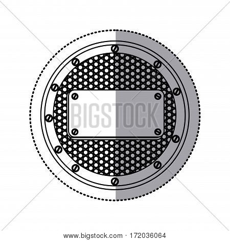 sticker silhouette circular metallic frame with grill perforated and plaque with screws vector illustration