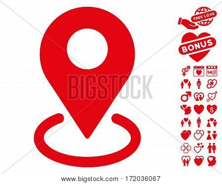 Geo Targeting icon with bonus decoration images. Vector illustration style is flat iconic red symbols on white background.