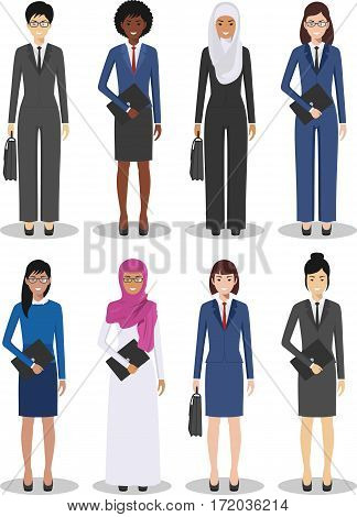 Detailed illustration of diverse business people in flat style on white background.