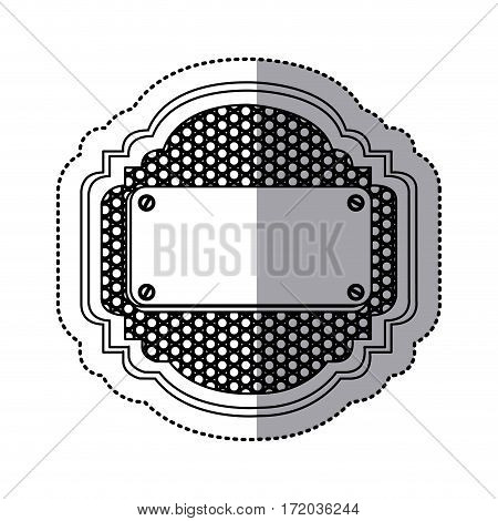sticker silhouette heraldic metallic frame with grill perforated and plaque with screws vector illustration