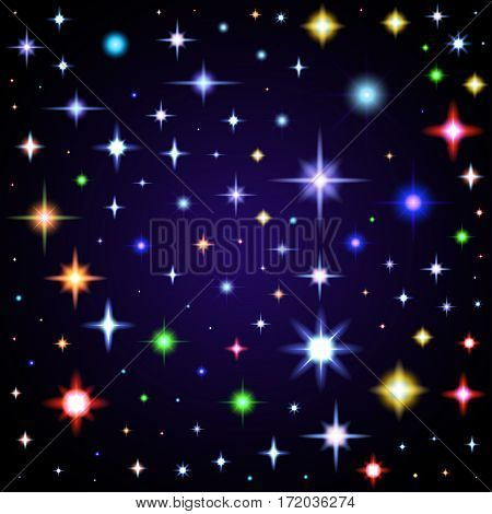 Light glare, space stars. Vector illustration of lens flares different colors.