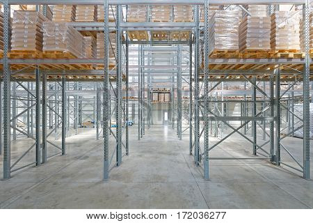 Pallet Rack With Goods in Distribution Warehouse