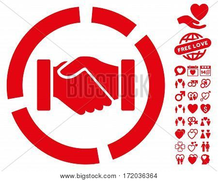 Handshake Diagram pictograph with bonus love graphic icons. Vector illustration style is flat iconic red symbols on white background.
