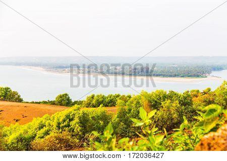 View panorama from Goa, Anjuna beach, India