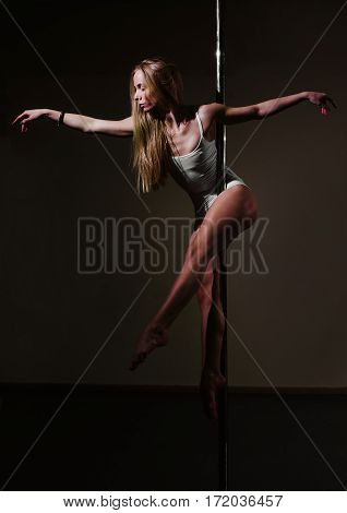 Dramatic Portrait Of A Gorgeous Athletic Pole Dancer Holding A Pose