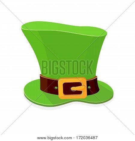 Green hat of leprechaun for Patrick Day on white background, illustration.