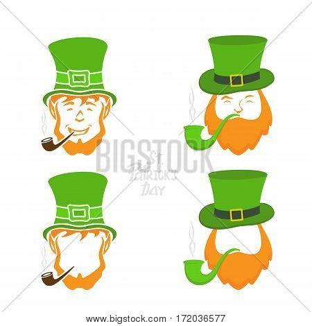 Patrick day icons on white background, leprechauns with green hat and smoking pipe, lettering St. Patrick's Day, illustration.