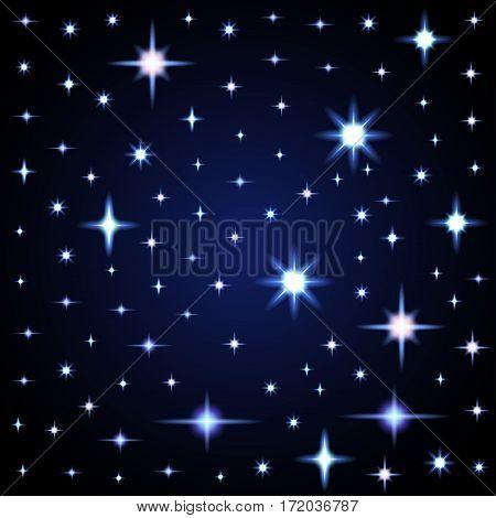 Light glare, space stars. Vector illustration of lens flares.
