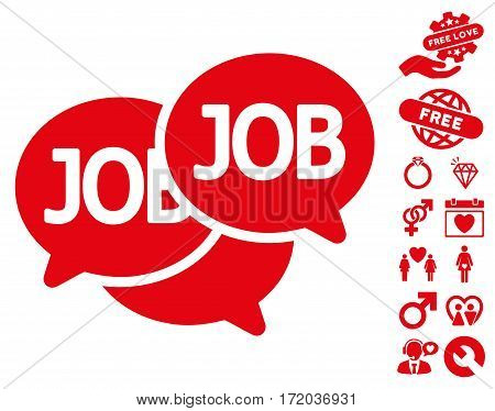 Labor Market icon with bonus decorative icon set. Vector illustration style is flat iconic red symbols on white background.