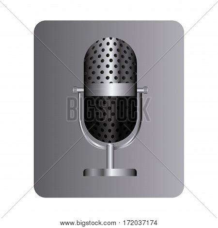 gray square button with studio microphone vector illustration