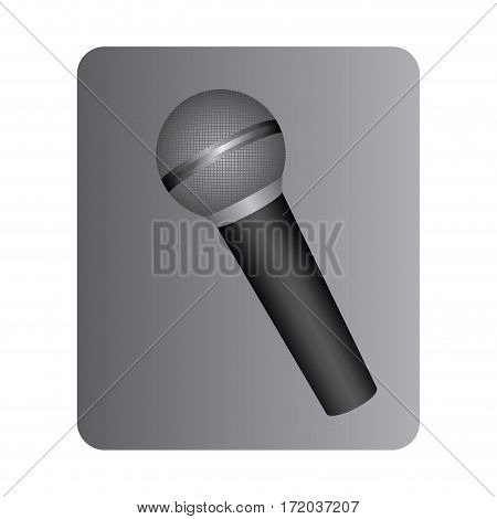 gray square button with dynamic microphone vector illustration