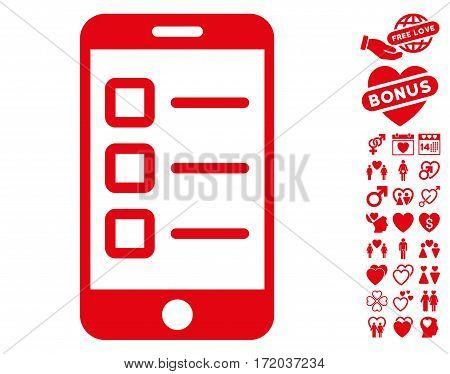 Mobile Test icon with bonus dating symbols. Vector illustration style is flat iconic red symbols on white background.
