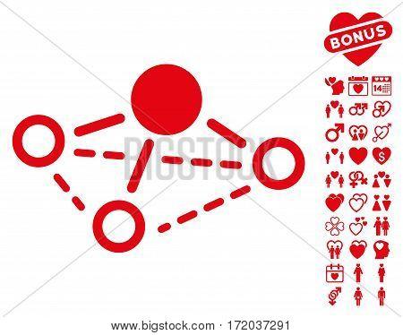 Molecule icon with bonus decoration symbols. Vector illustration style is flat iconic red symbols on white background.