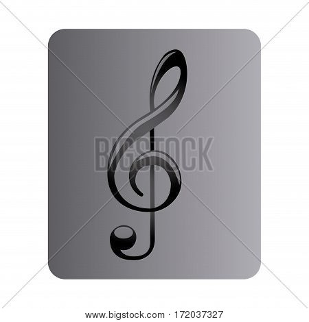 gray square button with sign music treble clef vector illustration