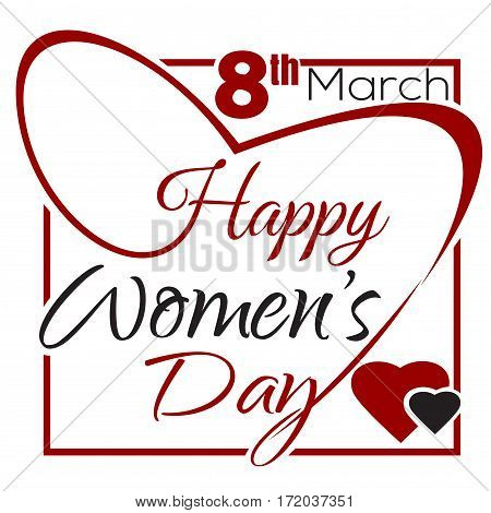 International Women's Day. 8th March. Typographic design. Vintage greeting card with lettering. Women's Day lettering card. Vector illustration