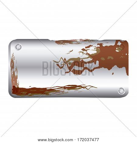 metallic plaque rusted with screws vector illustration